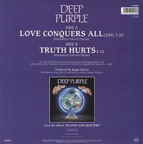 Deep Purple Love Conquers All shaped picture disc (picture disc vinyl record) UK DEESHLO60856