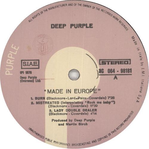 Deep Purple Made In Europe vinyl LP album (LP record) Italian DEELPMA727106