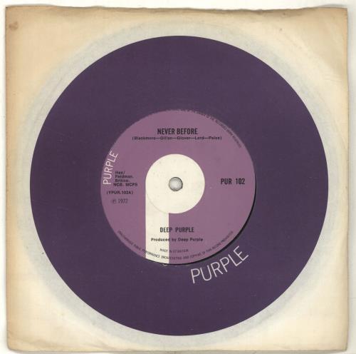 "Deep Purple Never Before + Company Sleeve 7"" vinyl single (7 inch record) UK DEE07NE701170"