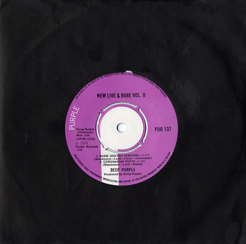 "Deep Purple New Live & Rare Vol II 7"" vinyl single (7 inch record) UK DEE07NE559354"