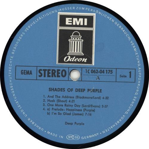 Deep Purple Shades Of Deep Purple vinyl LP album (LP record) German DEELPSH706825