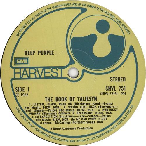 Deep Purple The Book Of Taliesyn - 6th vinyl LP album (LP record) UK DEELPTH676803