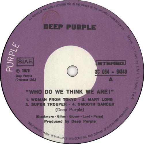 Deep Purple Who Do We Think We Are vinyl LP album (LP record) Italian DEELPWH727114