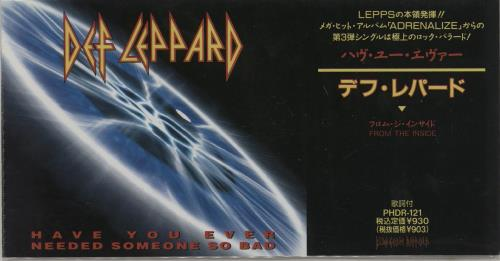 """Def Leppard Have You Ever Needed Someone So Bad 3"""" CD single (CD3) Japanese DEFC3HA135742"""