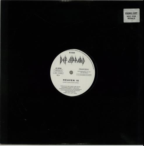 "Def Leppard Heaven Is 12"" vinyl single (12 inch record / Maxi-single) UK DEF12HE17581"