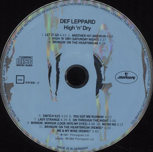 Def Leppard High 'n Dry CD album (CDLP) German DEFCDHI50372