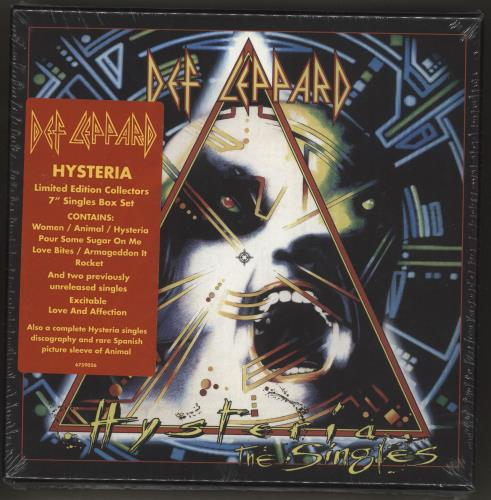 "Def Leppard Hysteria (The Singles) - Sealed 7"" box set UK DEF7XHY726073"
