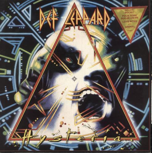 Def Leppard Hysteria - Triangular Stickered P/S + Insert - EX vinyl LP album (LP record) UK DEFLPHY747212