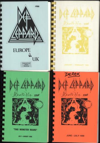 Def Leppard Hysteria Tour 1987/88 - Five Itinerary UK DEFITHY707524