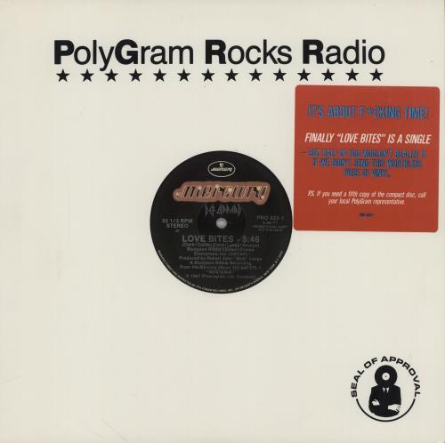"Def Leppard Love Bites 12"" vinyl single (12 inch record / Maxi-single) US DEF12LO88860"