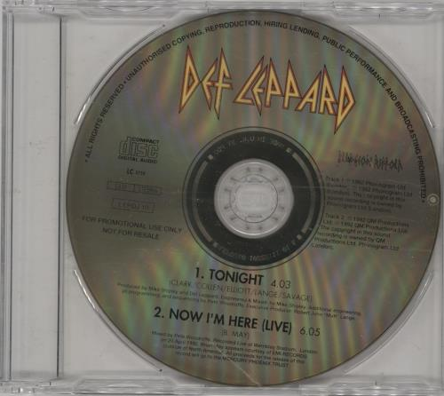 "Def Leppard Tonight CD single (CD5 / 5"") UK DEFC5TO754206"