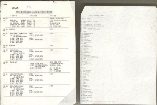 Def Leppard Tour Itinerary Information 1988-1989 Itinerary UK DEFITTO712014
