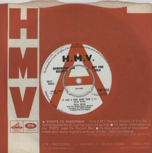 """Della Reese It Was A Very Good Year - A Label 7"""" vinyl single (7 inch record) UK DAR07IT761519"""