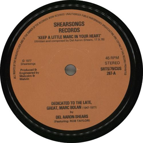 """Del Aaron-Shears Dedicated To The Late, Great, Marc Bolan (1947-1977) EP 7"""" vinyl single (7 inch record) UK ZFM07DE715916"""