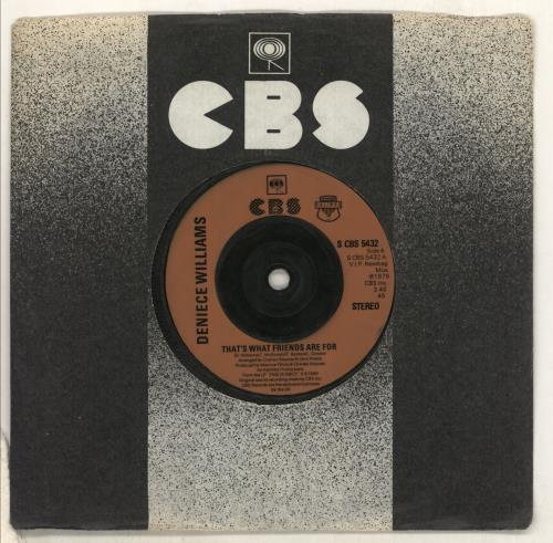 """Deniece Williams That's What Friends Are For - Injection 7"""" vinyl single (7 inch record) UK DNW07TH733470"""
