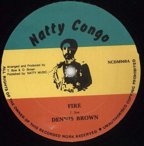 "Dennis Brown Fire 12"" vinyl single (12 inch record / Maxi-single) UK D/B12FI709203"