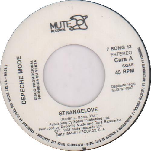 "Depeche Mode Amor Extraño (Strangelove) 7"" vinyl single (7 inch record) Spanish DEP07AM253592"