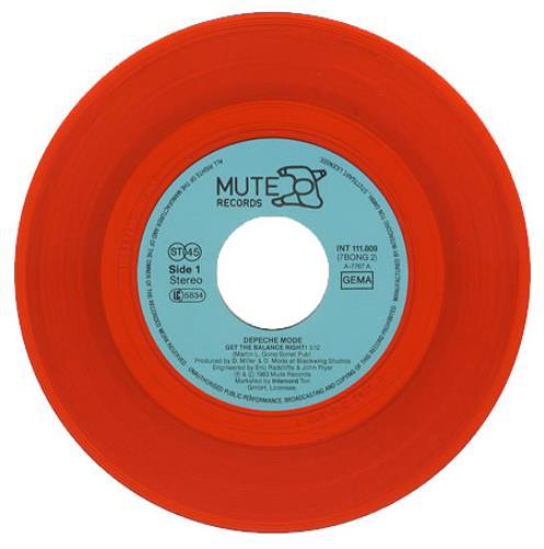 "Depeche Mode Get The Balance Right - Red Vinyl 7"" vinyl single (7 inch record) German DEP07GE63675"