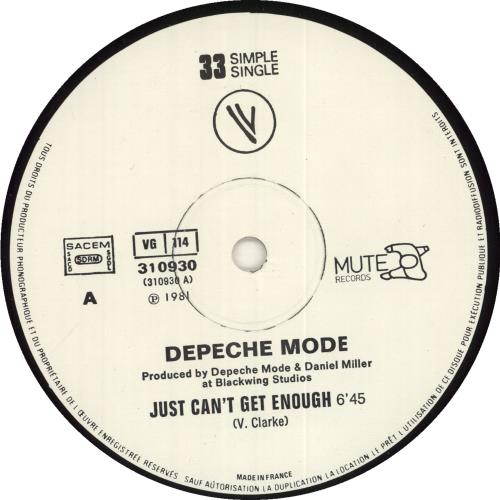 "Depeche Mode Just Can't Get Enough - Sample Stamped 12"" vinyl single (12 inch record / Maxi-single) French DEP12JU732885"