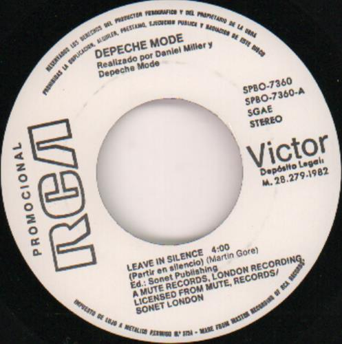 "Depeche Mode Partir En Silencio (Leave In Silence) - EX 7"" vinyl single (7 inch record) Spanish DEP07PA671840"