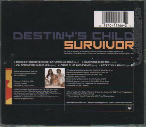 "Destiny's Child Survivor CD single (CD5 / 5"") US DCHC5SU183956"
