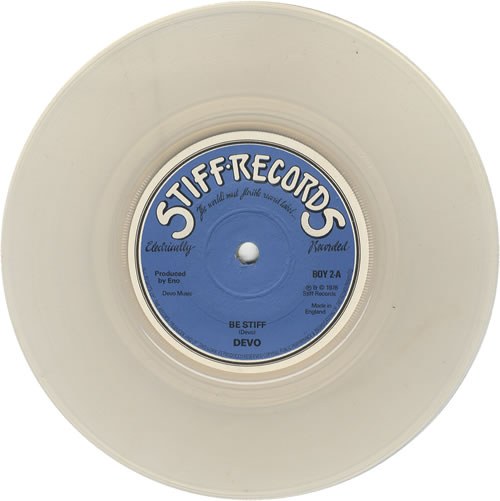 "Devo Be Stiff - Clear Vinyl + Sleeve 7"" vinyl single (7 inch record) UK DVO07BE449822"