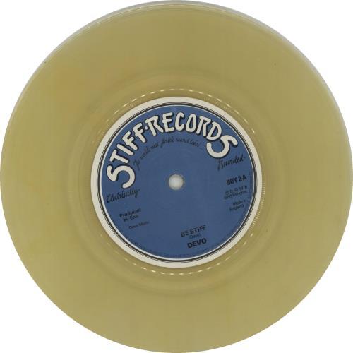 "Devo Be Stiff - Yellow Vinyl 7"" vinyl single (7 inch record) UK DVO07BE666455"