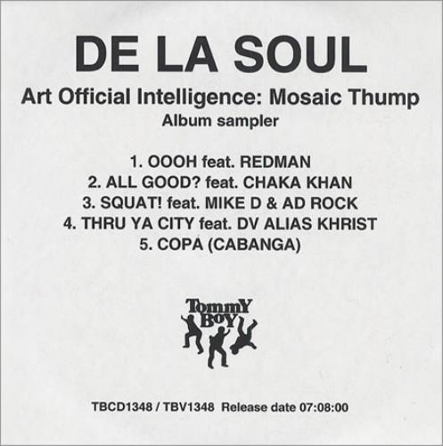 De La Soul Art Official intelligence: Mosaic Thump CD-R acetate UK DLSCRAR171757