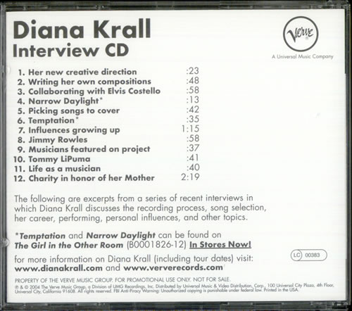 Diana Krall The Girl In The Other Room - Interview CD CD album (CDLP) US DKRCDTH529782