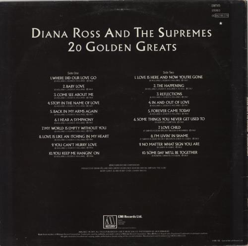 Diana Ross & The Supremes 20 Golden Greats vinyl LP album (LP record) UK D/SLPGO767745