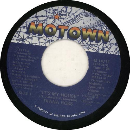 "Diana Ross It's My House 7"" vinyl single (7 inch record) US DIA07IT740057"