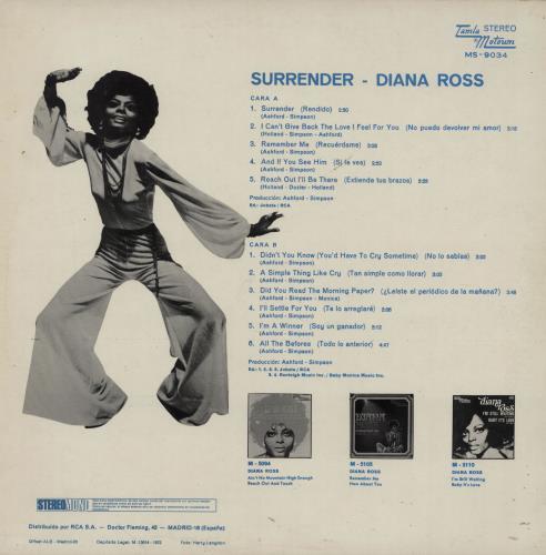 Diana Ross Surrender vinyl LP album (LP record) Spanish DIALPSU757875