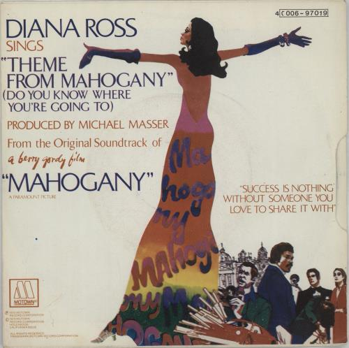 """Diana Ross Theme From Mahogany (Do You Know Where You're Going To) 7"""" vinyl single (7 inch record) Belgian DIA07TH656873"""