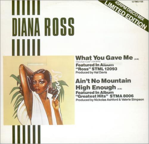 "Diana Ross What You Gave Me - Disco Mix 12"" vinyl single (12 inch record / Maxi-single) UK DIA12WH18671"