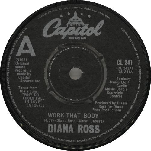 "Diana Ross Work That Body 7"" vinyl single (7 inch record) UK DIA07WO698758"