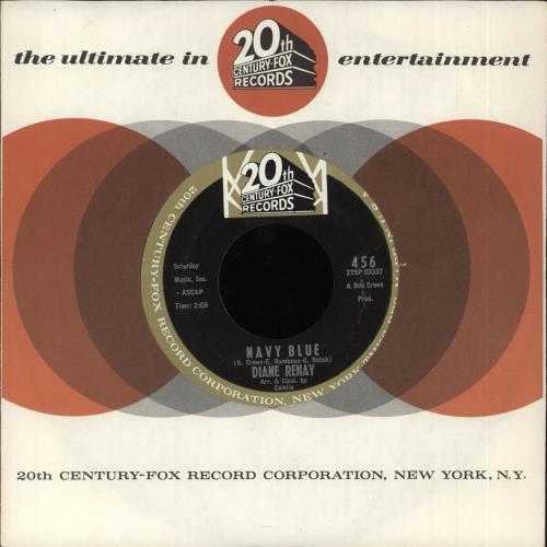 """Diane Renay Navy Blue 7"""" vinyl single (7 inch record) US Y-A07NA712165"""
