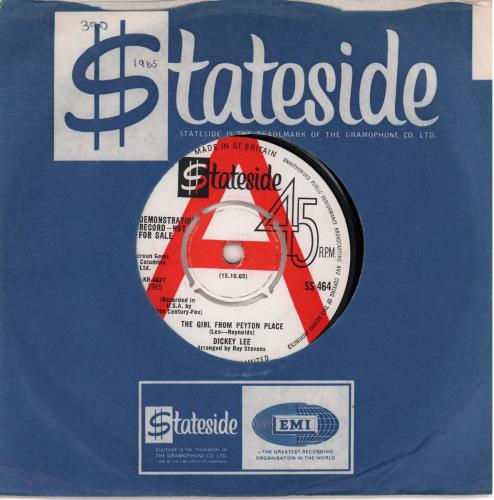 """Dickey Lee The Girl From Peyton Place 7"""" vinyl single (7 inch record) UK D5G07TH663033"""