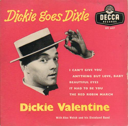 """Dickie Valentine Dickie Goes Dixie 7"""" vinyl single (7 inch record) UK VLT07DI641798"""