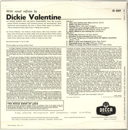 Dickie Valentine With Vocal Refrain By.... Dickie Valentine vinyl LP album (LP record) UK VLTLPWI697496
