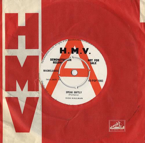 "Dick Kallman Speak Softly 7"" vinyl single (7 inch record) UK DQK07SP481065"