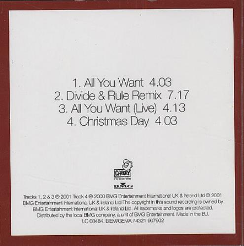 "Dido All You Want 3"" CD single (CD3) UK ODIC3AL203777"