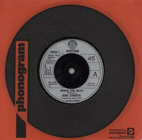 "Dire Straits Romeo And Juliet 7"" vinyl single (7 inch record) UK DIR07RO604514"