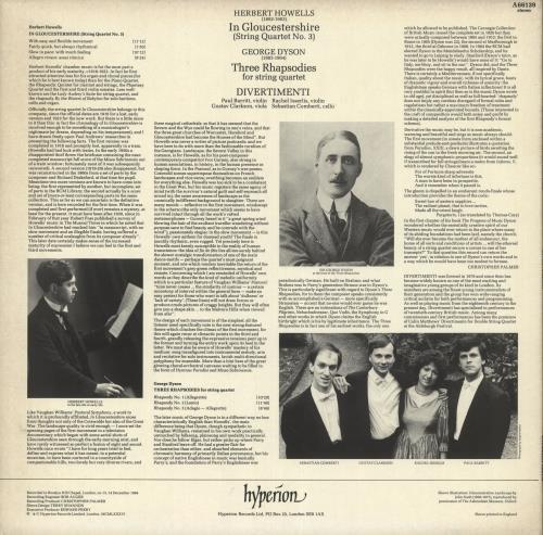 Divertimenti Herbert Howells: In Gloucestershire / George Dyson: Three Rhapsodies vinyl LP album (LP record) UK 0W0LPHE737166