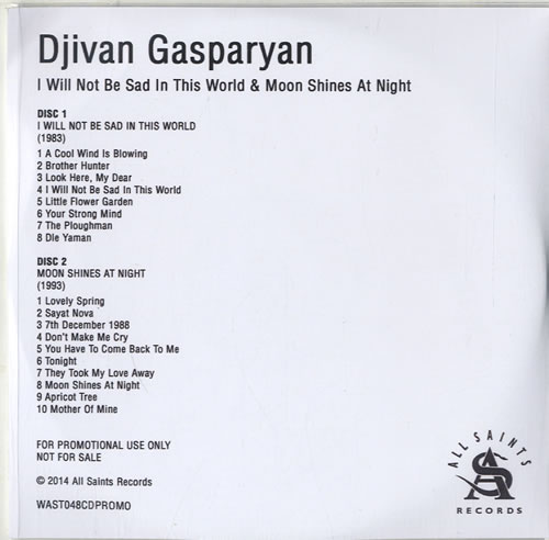 Djivan Gasparyan I Will Not Be Sad In This World & Moon Shines At Night CD-R acetate UK F4ICRIW614219