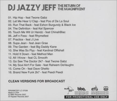 DJ Jazzy Jeff The Return Of The Magnificent - Clean Versions CD album (CDLP) US JAZCDTH403558
