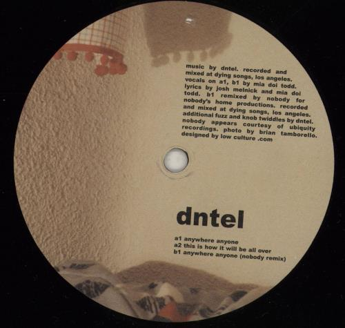 "Dntel Anywhere Anyone 12"" vinyl single (12 inch record / Maxi-single) US 23612AN761355"
