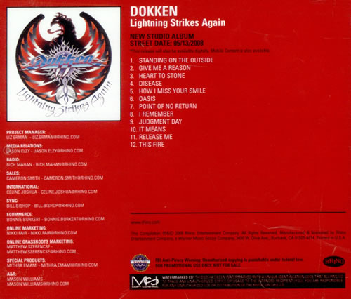 Dokken Lightning Strikes Again CD-R acetate US DOKCRLI508772