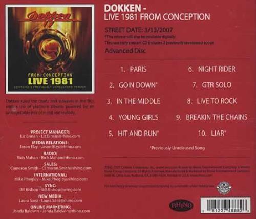 Dokken Live 1981 From Conception CD-R acetate US DOKCRLI395317