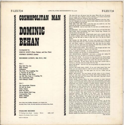 Dominic Behan Cosmopolitan Man vinyl LP album (LP record) UK EXMLPCO710238