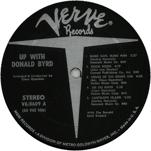 Donald Byrd Up With Donald Byrd vinyl LP album (LP record) US DOBLPUP630495